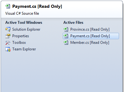 Moving Between Documents in Visual Studio
