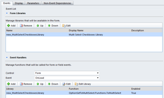 Multi select checkboxes function @ OnLoad