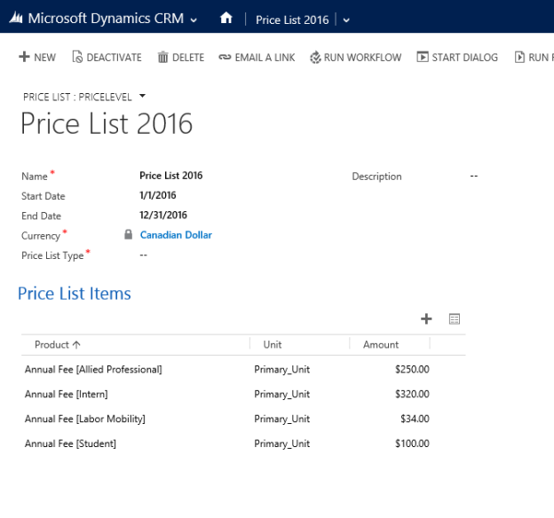 Newly Created Price List